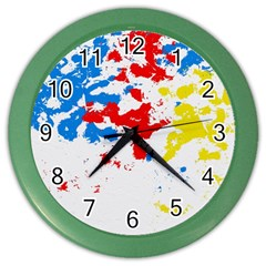 Paint Splatter Digitally Created Blue Red And Yellow Splattering Of Paint On A White Background Color Wall Clocks by Nexatart