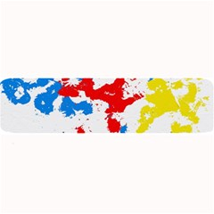 Paint Splatter Digitally Created Blue Red And Yellow Splattering Of Paint On A White Background Large Bar Mats