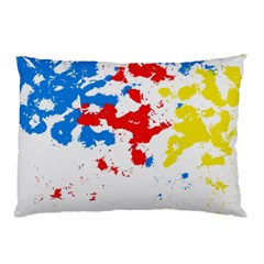 Paint Splatter Digitally Created Blue Red And Yellow Splattering Of Paint On A White Background Pillow Case by Nexatart