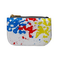 Paint Splatter Digitally Created Blue Red And Yellow Splattering Of Paint On A White Background Mini Coin Purses