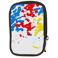 Paint Splatter Digitally Created Blue Red And Yellow Splattering Of Paint On A White Background Compact Camera Cases by Nexatart