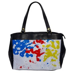 Paint Splatter Digitally Created Blue Red And Yellow Splattering Of Paint On A White Background Office Handbags by Nexatart