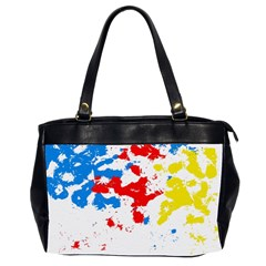 Paint Splatter Digitally Created Blue Red And Yellow Splattering Of Paint On A White Background Office Handbags (2 Sides)  by Nexatart