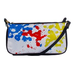 Paint Splatter Digitally Created Blue Red And Yellow Splattering Of Paint On A White Background Shoulder Clutch Bags by Nexatart