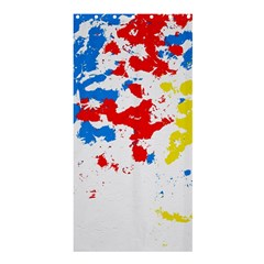 Paint Splatter Digitally Created Blue Red And Yellow Splattering Of Paint On A White Background Shower Curtain 36  X 72  (stall)