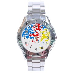 Paint Splatter Digitally Created Blue Red And Yellow Splattering Of Paint On A White Background Stainless Steel Analogue Watch by Nexatart