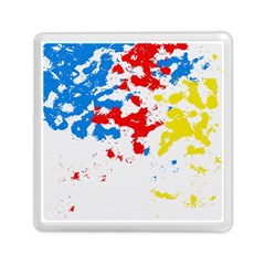 Paint Splatter Digitally Created Blue Red And Yellow Splattering Of Paint On A White Background Memory Card Reader (square)  by Nexatart