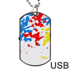 Paint Splatter Digitally Created Blue Red And Yellow Splattering Of Paint On A White Background Dog Tag USB Flash (One Side) by Nexatart