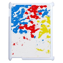 Paint Splatter Digitally Created Blue Red And Yellow Splattering Of Paint On A White Background Apple Ipad 2 Case (white) by Nexatart