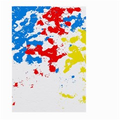 Paint Splatter Digitally Created Blue Red And Yellow Splattering Of Paint On A White Background Large Garden Flag (two Sides) by Nexatart