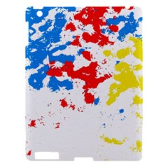 Paint Splatter Digitally Created Blue Red And Yellow Splattering Of Paint On A White Background Apple Ipad 3/4 Hardshell Case by Nexatart
