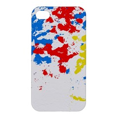 Paint Splatter Digitally Created Blue Red And Yellow Splattering Of Paint On A White Background Apple Iphone 4/4s Premium Hardshell Case by Nexatart