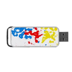 Paint Splatter Digitally Created Blue Red And Yellow Splattering Of Paint On A White Background Portable Usb Flash (two Sides) by Nexatart