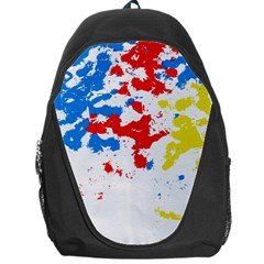 Paint Splatter Digitally Created Blue Red And Yellow Splattering Of Paint On A White Background Backpack Bag by Nexatart