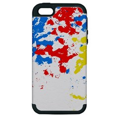 Paint Splatter Digitally Created Blue Red And Yellow Splattering Of Paint On A White Background Apple Iphone 5 Hardshell Case (pc+silicone)