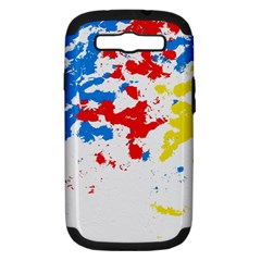 Paint Splatter Digitally Created Blue Red And Yellow Splattering Of Paint On A White Background Samsung Galaxy S Iii Hardshell Case (pc+silicone)