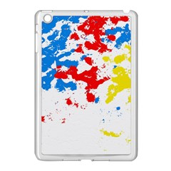 Paint Splatter Digitally Created Blue Red And Yellow Splattering Of Paint On A White Background Apple Ipad Mini Case (white) by Nexatart