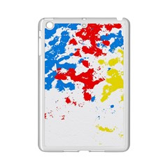 Paint Splatter Digitally Created Blue Red And Yellow Splattering Of Paint On A White Background Ipad Mini 2 Enamel Coated Cases by Nexatart