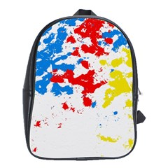 Paint Splatter Digitally Created Blue Red And Yellow Splattering Of Paint On A White Background School Bags (xl)