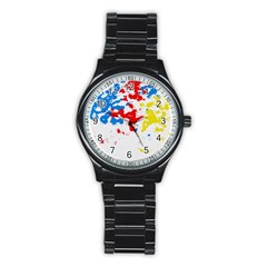 Paint Splatter Digitally Created Blue Red And Yellow Splattering Of Paint On A White Background Stainless Steel Round Watch