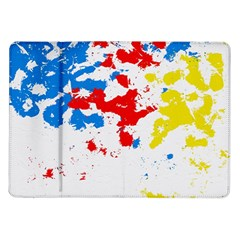 Paint Splatter Digitally Created Blue Red And Yellow Splattering Of Paint On A White Background Samsung Galaxy Tab 10 1  P7500 Flip Case by Nexatart