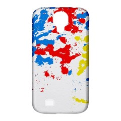 Paint Splatter Digitally Created Blue Red And Yellow Splattering Of Paint On A White Background Samsung Galaxy S4 Classic Hardshell Case (pc+silicone) by Nexatart