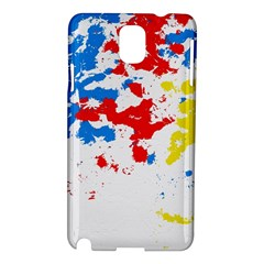 Paint Splatter Digitally Created Blue Red And Yellow Splattering Of Paint On A White Background Samsung Galaxy Note 3 N9005 Hardshell Case by Nexatart