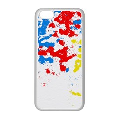 Paint Splatter Digitally Created Blue Red And Yellow Splattering Of Paint On A White Background Apple Iphone 5c Seamless Case (white) by Nexatart