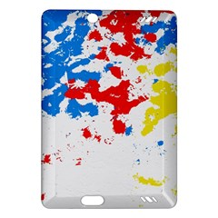 Paint Splatter Digitally Created Blue Red And Yellow Splattering Of Paint On A White Background Amazon Kindle Fire Hd (2013) Hardshell Case