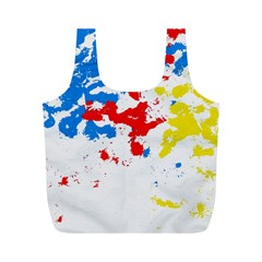 Paint Splatter Digitally Created Blue Red And Yellow Splattering Of Paint On A White Background Full Print Recycle Bags (m)  by Nexatart