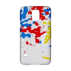 Paint Splatter Digitally Created Blue Red And Yellow Splattering Of Paint On A White Background Samsung Galaxy S5 Hardshell Case  by Nexatart