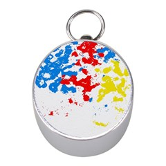 Paint Splatter Digitally Created Blue Red And Yellow Splattering Of Paint On A White Background Mini Silver Compasses
