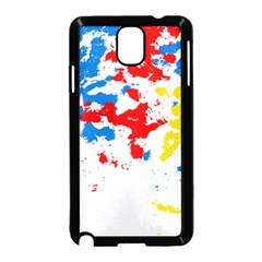 Paint Splatter Digitally Created Blue Red And Yellow Splattering Of Paint On A White Background Samsung Galaxy Note 3 Neo Hardshell Case (Black)
