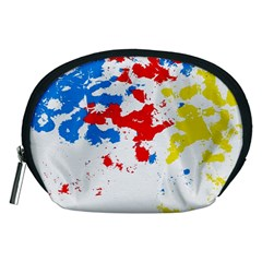 Paint Splatter Digitally Created Blue Red And Yellow Splattering Of Paint On A White Background Accessory Pouches (medium)