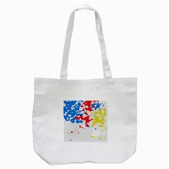 Paint Splatter Digitally Created Blue Red And Yellow Splattering Of Paint On A White Background Tote Bag (white) by Nexatart