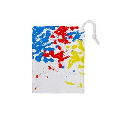 Paint Splatter Digitally Created Blue Red And Yellow Splattering Of Paint On A White Background Drawstring Pouches (small)