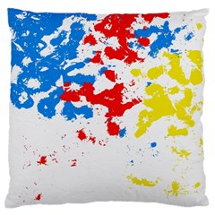 Paint Splatter Digitally Created Blue Red And Yellow Splattering Of Paint On A White Background Large Flano Cushion Case (one Side)