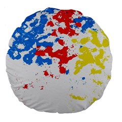 Paint Splatter Digitally Created Blue Red And Yellow Splattering Of Paint On A White Background Large 18  Premium Flano Round Cushions by Nexatart