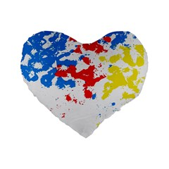 Paint Splatter Digitally Created Blue Red And Yellow Splattering Of Paint On A White Background Standard 16  Premium Flano Heart Shape Cushions by Nexatart