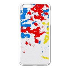 Paint Splatter Digitally Created Blue Red And Yellow Splattering Of Paint On A White Background Apple Iphone 6 Plus/6s Plus Enamel White Case by Nexatart