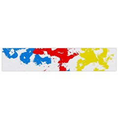 Paint Splatter Digitally Created Blue Red And Yellow Splattering Of Paint On A White Background Flano Scarf (small)
