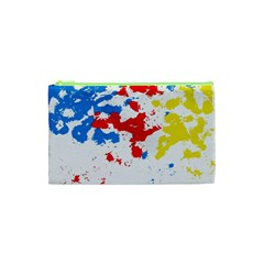 Paint Splatter Digitally Created Blue Red And Yellow Splattering Of Paint On A White Background Cosmetic Bag (xs) by Nexatart
