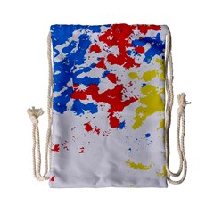 Paint Splatter Digitally Created Blue Red And Yellow Splattering Of Paint On A White Background Drawstring Bag (small) by Nexatart