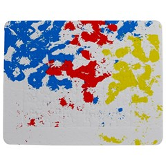 Paint Splatter Digitally Created Blue Red And Yellow Splattering Of Paint On A White Background Jigsaw Puzzle Photo Stand (rectangular) by Nexatart