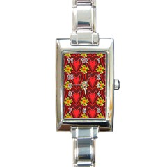 Digitally Created Seamless Love Heart Pattern Rectangle Italian Charm Watch by Nexatart