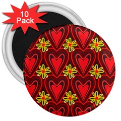 Digitally Created Seamless Love Heart Pattern 3  Magnets (10 Pack)