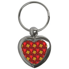 Digitally Created Seamless Love Heart Pattern Key Chains (heart)