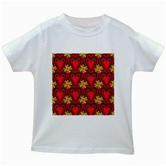 Digitally Created Seamless Love Heart Pattern Kids White T Shirts