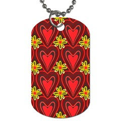 Digitally Created Seamless Love Heart Pattern Dog Tag (one Side)