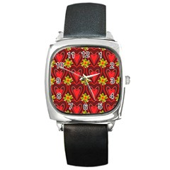 Digitally Created Seamless Love Heart Pattern Square Metal Watch by Nexatart
